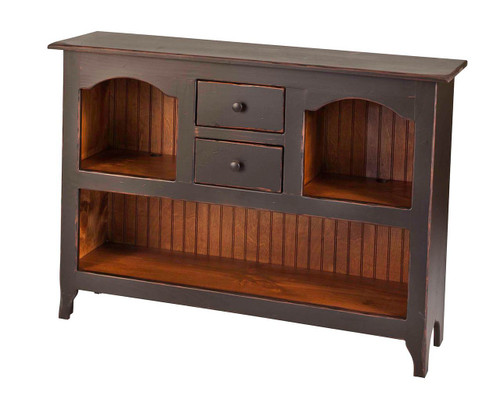 Amish Handcrafted Colonial Server by Vintage Creations By Sam - Finished In Antique 2-Tone Black With Heritage Stain