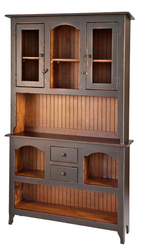 Amish Handcrafted Colonial Server Hutch by Vintage Creations By Sam - Finished In Antique 2-Tone Black With Heritage Stain