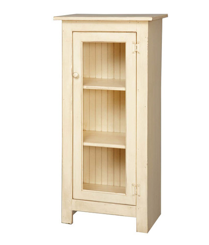 Amish Handcrafted Small Jelly Cupboard With Glass by Vintage Creations By Sam - Finished In Distressed Cream White