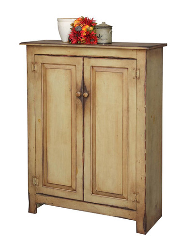 Amish Handcrafted Large Jelly Cupboard by Vintage Creations By Sam - Finished In Antique Finish With Sage.
