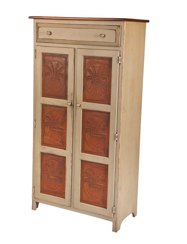Amish Handcrafted 5 Foot Pie Safe by Vintage Creations By Sam - Finished In Antique 2-Tone Finish, Taupe With Heritage Stain