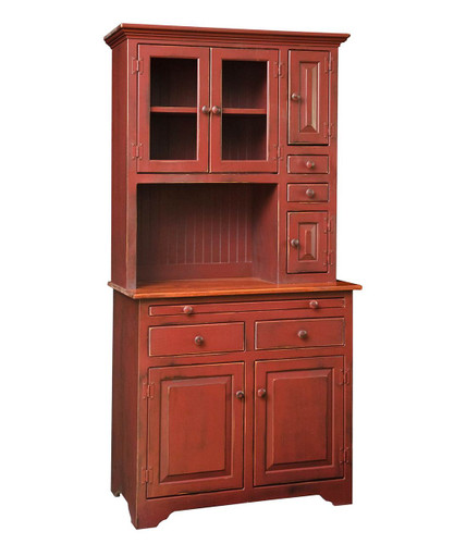 Amish Handcrafted Medium Hoosier Hutch by Vintage Creations By Sam - Finished In Distressed 2-Tone Barn Red With Special Cherry Stain on Top Only - (Stain On Top Only Available On Special Request)