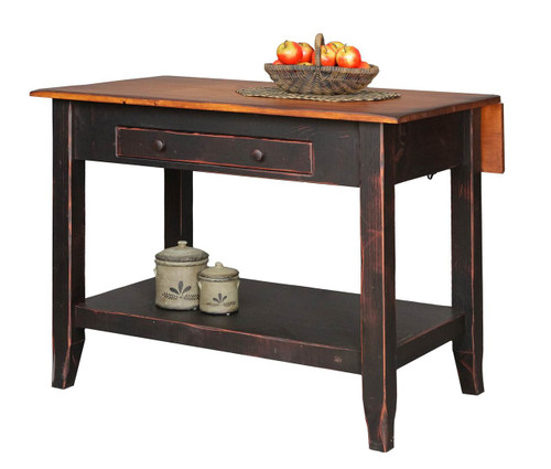 Amish Handcrafted 4 Foot Kitchen Saver by Vintage Creations By Sam - Finished In Antique 2-Tone Finish Black With Heritage Stain