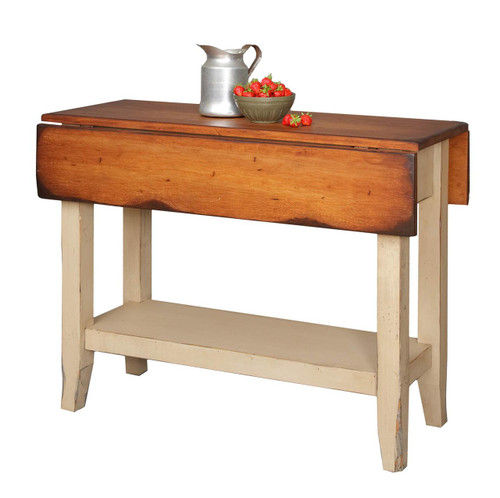 Amish Handcrafted 4 Foot Kitchen Saver by Vintage Creations By Sam - Finished In Antique 2-Tone Finish Taupe With Heritage Stain