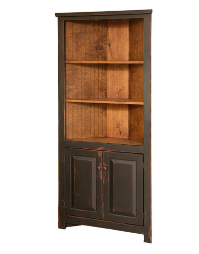 """Amish Handcrafted 32"""" Corner Cupboard by Vintage Creations By Sam - Finished In Antique 2-Tone Finish Black With Heritage Stain"""