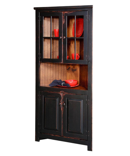 "Amish Handcrafted 32"" Corner Cupboard With Glass by Vintage Creations By Sam - Finished In Antique 2-Tone Finish Black With Heritage Stain"