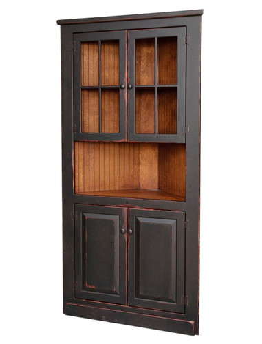 """Amish Handcrafted 40"""" Corner Cupboard With Glass by Vintage Creations By Sam - Finished In Antique 2-Tone Finish Black With Heritage Stain"""