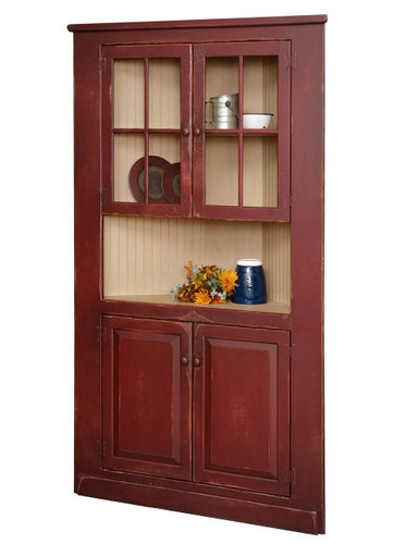 "Amish Handcrafted 40"" Corner Cupboard With Glass by Vintage Creations By Sam - Finished In A CUSTOM Finish"