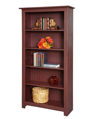 Amish Handcrafted 6 Foot Bookcase by Vintage Creations By Sam - Finished In Distressed Finish, Barn Red