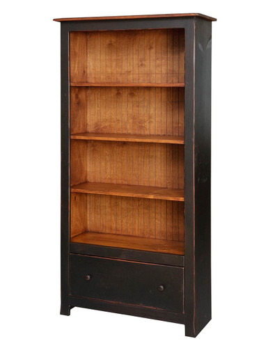 Amish Handcrafted 6 Foot Bookcase With 1 Drawer by Vintage Creations By Sam - Finished In Antique 2-Tone Finish, Black With Heritage Stain
