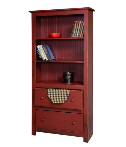 Amish Handcrafted 6 Foot Bookcase With 2 Drawers by Vintage Creations By Sam - Finished In Distressed Finish, Barn Red