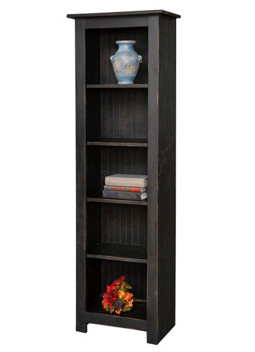 Amish Handcrafted 6 Foot Narrow Bookcase by Vintage Creations By Sam - Finished In Distressed Finish, Black