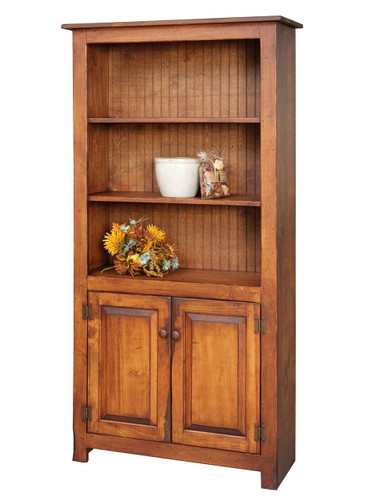 Amish Handcrafted 6 Foot Bookcase With Bottom Doors by Vintage Creations By Sam - Finished In Antique Finish, With Heritage Stain