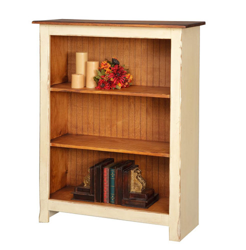 Amish Handcrafted 4 Foot Bookcase by Vintage Creations By Sam - Finished In Distressed 2-Tone Finish, Cream White With Heritage Stain