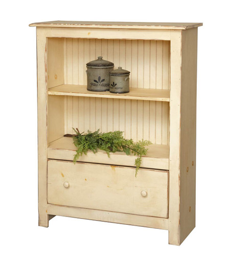 Amish Handcrafted 4 Foot Bookcase With 1 Drawer by Vintage Creations By Sam - Finished In Antique Finish, Cream White (Cream White No Longer Available In Antique Finish)