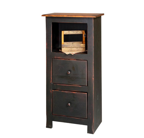Amish Handcrafted 4 Foot Narrow Bookcase With 2 Drawers by Vintage Creations By Sam - Finished In Antique 2-Tone Finish, Black With Heritage Stain