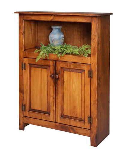 Amish Handcrafted 4 Foot Bookcase With Bottom Doors by Vintage Creations By Sam - Finished In Antique, With Heritage Stain