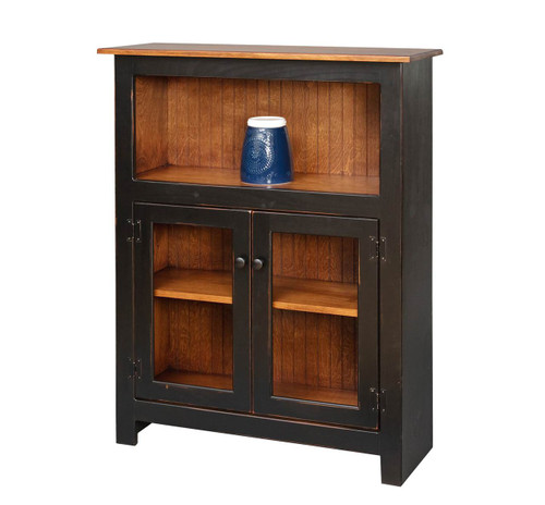 Amish Handcrafted 4 Foot Bookcase With Bottom Doors by Vintage Creations By Sam - Finished In Distressed 2-Tone Finish, Black With Heritage Stain