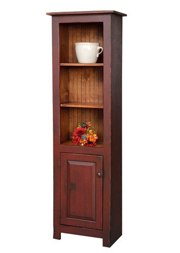 Amish Handcrafted Large Library Cabinet by Vintage Creations By Sam - Finished In Antique 2-Tone Finish, Barn Red With Heritage Stain