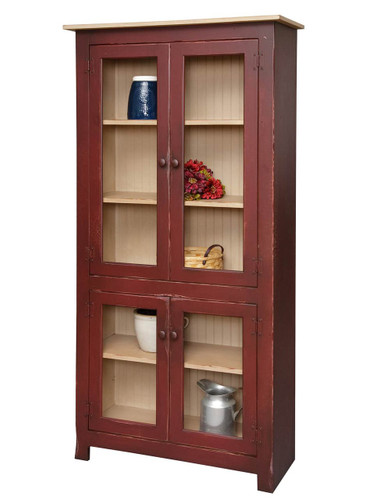 Amish Handcrafted Large Curio Cabinet by Vintage Creations By Sam - Finished In Antique 2-Tone Finish, Barn Red With Custom Color