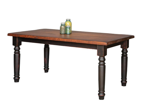 """Amish Handcrafted 8 Foot Harvest Table With 4"""" Round Turned Legs by Vintage Creations By Sam - Finished In Antique 2-Tone Finish, Black With Heritage Stain"""