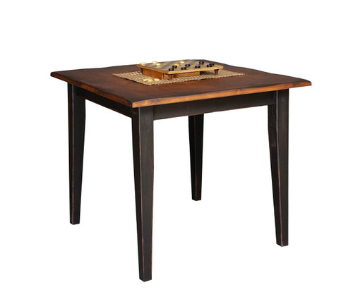 "Amish Handcrafted 3 Foot Farm Table With 3"" Shaker Legs by Vintage Creations By Sam - Finished In Antique 2-Tone Finish, Black With Heritage Stain"