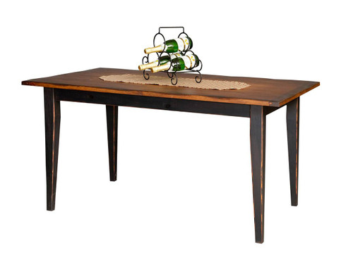 """Amish Handcrafted 5 Foot Farm Table With 3"""" Shaker Legs by Vintage Creations By Sam - Finished In Antique 2-Tone Finish, Black With Heritage Stain"""
