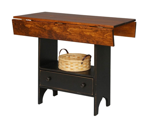 Amish Handcrafted Tavern Table by Vintage Creations By Sam - Finished In Distressed 2-Tone Finish, Black With Heritage Stain