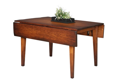 """Amish Handcrafted 4 Foot Farm Table With 2 Drop Leafs, And 3"""" Shaker Legs by Vintage Creations By Sam - Finished With Antique Finish, With Heritage Stain"""