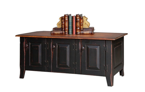 Amish Handcrafted Coffee Table Chest by Vintage Creations By Sam - Finished In Antique 2-Tone Finish, Black With Heritage Stain