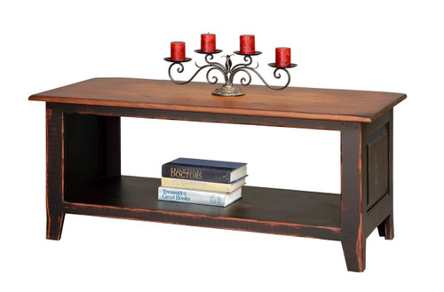 Amish Handcrafted Coffee Table Chest With Shelf by Vintage Creations By Sam - Finished In Antique 2-Tone Finish, Black With Heritage Stain