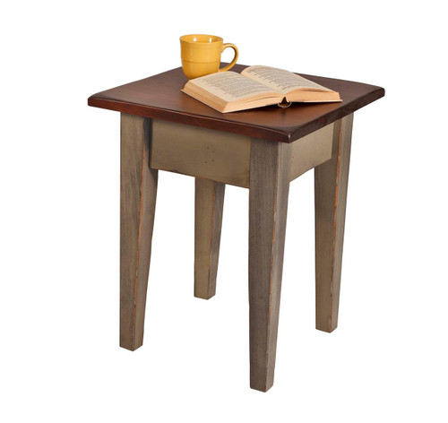 Amish Handcrafted Harvest End Table by Vintage Creations By Sam - Finished In Antique 2-Tone Finish, Ash With Coffee Stain