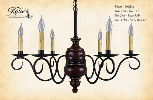 Katie's Handcrafted Lighting Queen Anne Wood Chandelier Pictured In: Original Finish, Base Coat Color = Barn Red, Top Coat Color = Black Rub, Trim Color = Spicy Mustard