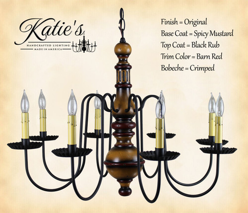 Katie's Handcrafted Lighting Hamilton Wood Chandelier Pictured In: Original Finish, Base Coat Color = Spicy Mustard, Top Coat Color = Black Rub, Trim Color = Barn Red