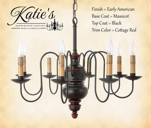 Katie's Handcrafted Lighting Chesapeake Wood Chandelier Pictured In Early American Finish: Base Coat Color = Massicot, Top Coat Color = Black, Trim Color = Cottage Red