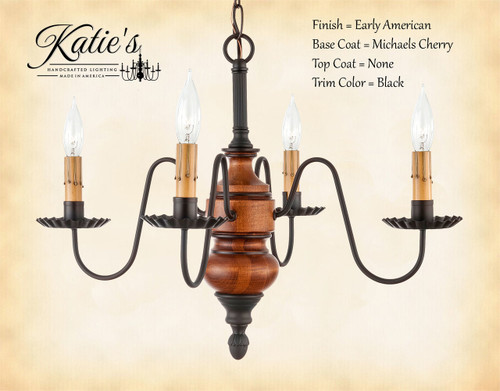 Katie's Handcrafted Lighting Frederick Mini Wood Chandelier Pictured In Early American Finish: Base Coat Color = Michael's Cherry, Top Coat Color = None, Trim Color = Black