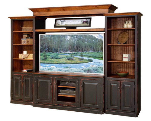 Amish Handcrafted 5 Foot Flat Screen Entertainment Center by Vintage Creations By Sam - Finished In Antique 2-Tone Finish, Black With Harvest Stain