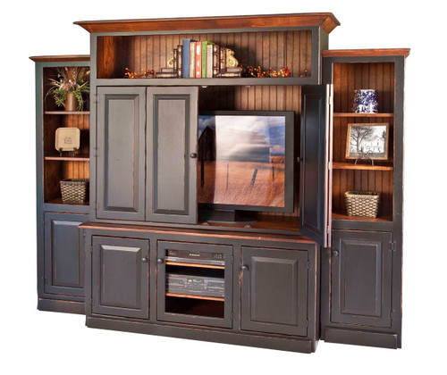Amish Handcrafted 3 Piece Entertainment Center by Vintage Creations By Sam - Finished In Antique 2-Tone Finish, Black With Harvest Stain