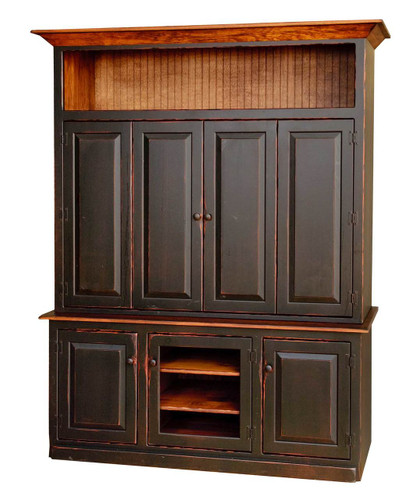 Amish Handcrafted 5 Foot Flat Screen TV Cabinet by Vintage Creations By Sam - Finished In Antique 2-Tone Finish, Black With Harvest Stain