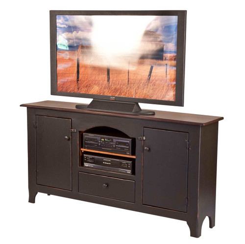 Amish Handcrafted Colonial TV Stand by Vintage Creations By Sam - Finished In Antique 2-Tone Finish, Black With Harvest Stain