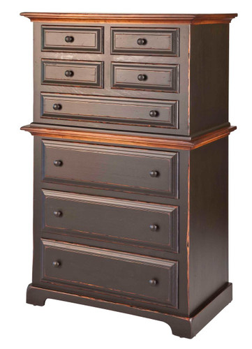 Amish Handcrafted Chest On Chest by Vintage Creations By Sam - Finished In Antique 2-Tone Finish, Black With Harvest Stain