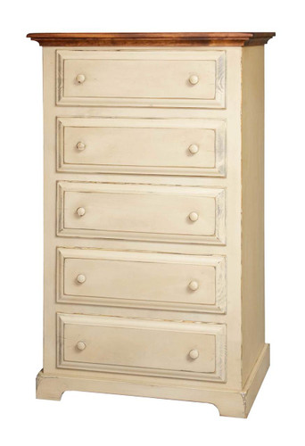 Amish Handcrafted Chest On Chest by Vintage Creations By Sam - Finished In Distressed 2-Tone Finish, Cream White With Heritage Stain