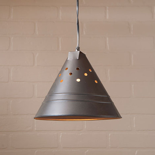 Irvin's Tinware Edison Pendant Light Finished In Smokey Black