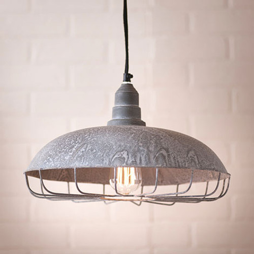 Supply Store Pendant Light Finished In Weathered Zinc, From The Vintage Farmhouse Collection by Irvin's Tinware