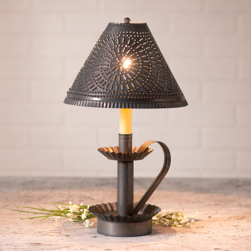 Irvin's Tinware Plantation Candlestick Lamp Finished In Kettle Black