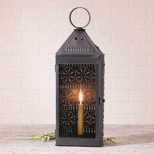 Irvin's Tinware Tall Harbor Lantern Finished In Smokey Black