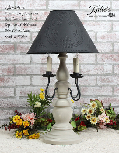 "Katie's Handcrafted Lighting 4 Arm Large Liberty Lamp Pictured In Early American Finish: Base Coat Color = Parchment, Top Coat Color = Cobblestone, Trim Color = None, Shade = 16"" Star Shade In Aged Black"