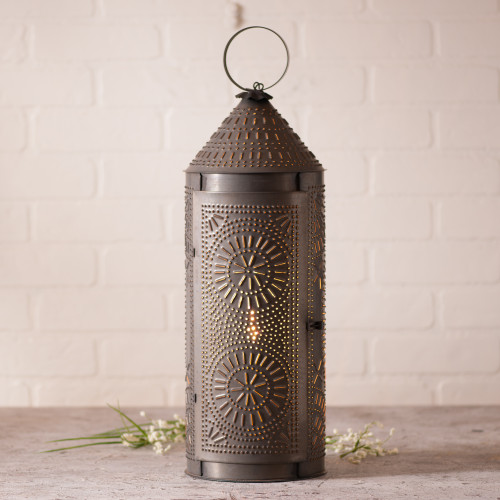 Irvin's Tinware Punched Tin Chimney Lantern Finished In Kettle Black