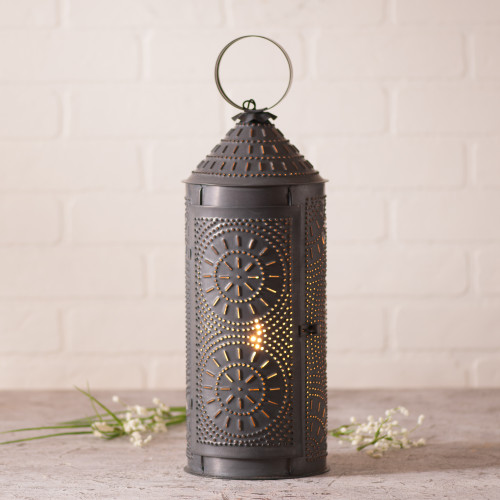 "Irvin's Tinware 18"" Chimney Lantern Finished In Kettle Black"