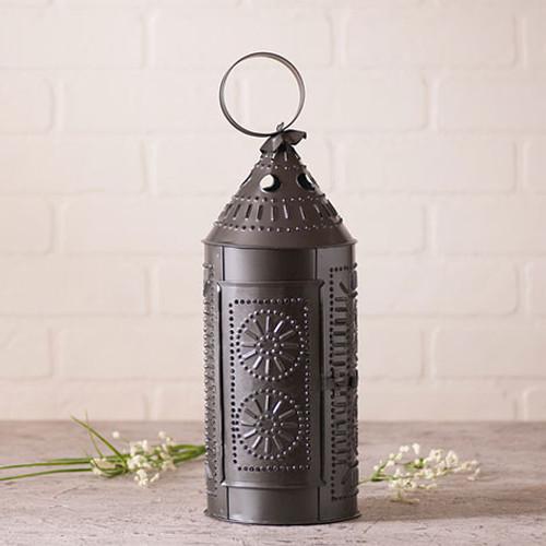"""Irvin's Tinware 17"""" Sturbridge Lantern Candle Holder Finished In Smokey Black"""
